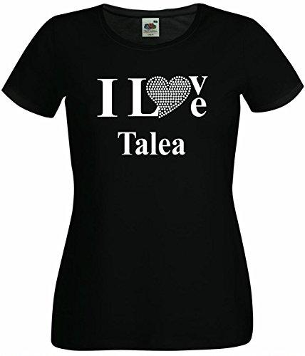 T-Shirt I Love Talea mit einer Strassaplikation / Strassherz Weiß