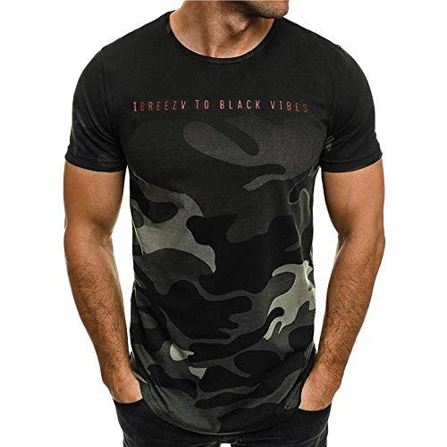 Gabbana Mode T-shirt (REALIKE Herren Kurzarmshirt Oberteil Casual Basic O-Ausschnitt Tarnmuster Buchstabenmuster T-Shirt Mode Slim Fit Tops Summer Sport Bequem Atmungsaktiv Leicht Viele Farben Blusen)