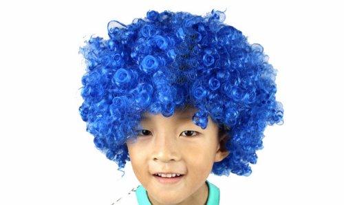 Neuheit Short Afro-volle Spitze Curly Clown Party Perücken Fußball-Fans Halloween Kostüme Curl-up-Fälschungs-Haar-Perücke Wild-Blau (Fußball Fan Halloween Kostüme)