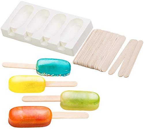 Rosenstein & Söhne Eiscremeformen-Saft-Eis: Silikon-Form für 4 Eis am Stiel, je 70 ml, mit 24 Holzstielen (Eisformmaker)