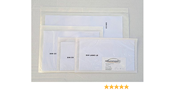 C5 transparent, LD 1000 St ohne Druck transparent C4 LD officeversand12 Lieferscheintaschen Dokumententaschen C6