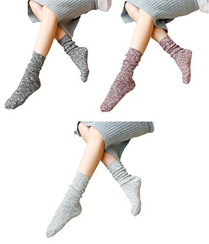 Zando no show da donna Cozy Anti-Fatigue caviglia alta cotone Casual Calzini Mix Color-3 Pairs A Taglia unica