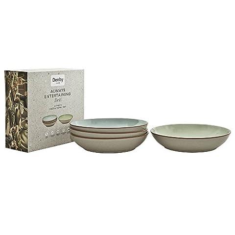 Denby Always Entertaining Deli Pastaschüssel, Stein, Blau / Pink / Gelb / Grün, Set mit 4 Stück (Keramik Pasta Bowl)