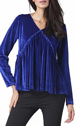 Awake Frauen Pure Color Velvet V-Ausschnitt Unregelmäßige Bluse (Stretch Charmeuse Kleid)