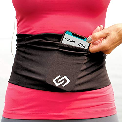 Sporteer VersaFlex Running Belt, Travel Money and Passport Belt, Workout Waist Pack for Large Phones and Personal Items (Black, Large)