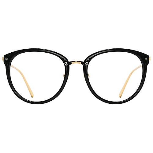 TIJN Blueblocker-Brille Round Optical Brillen Rahmen mit klaren Linsen für Frauen (Brille Klare Linse Schwarzen Rahmen)