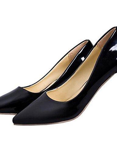 WSS 2016 Chaussures Femme-Habillé / Soirée & Evénement-Noir / Rouge / Blanc-Talon Bas-Talons-Talons-Similicuir black-us6 / eu36 / uk4 / cn36