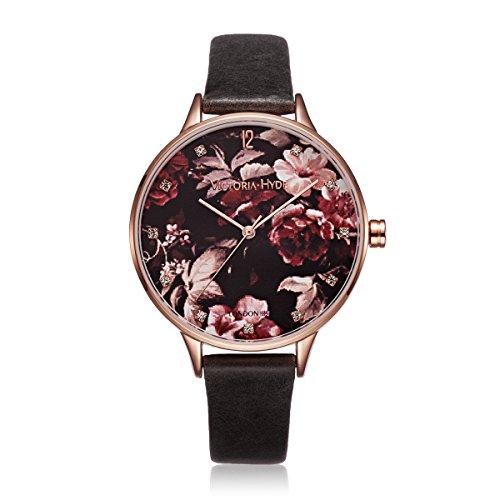 VICTORIA HYDE Design Blume Uhren Damen 7mm dünn Blumenmuster Rosegold Zifferblatt Frauen Armbanduhr Quarzuhr mit Echtes Lederband Wasserdicht 3bar