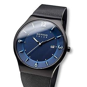 BERING Reloj Analógico para Hombre de Energía Solar con Correa en Acero Inoxidable 14440-227 de BERING