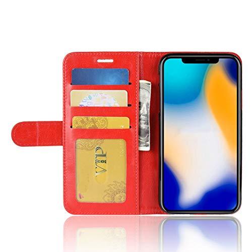Für iPhone XS Schutzhülle, Amuse-MIUMIU Ultradünne Stilvolle Elegante Ledertasche Magnetic Closure Snap Flip Case vertikal Schutzhülle mit Kartenfach für iPhone XS 5.8 Zoll (Rot) Apple Iphone Snap Rot