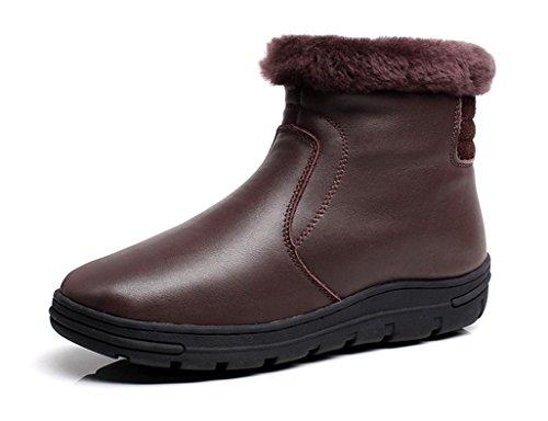Ugg-schnee-stiefel-jungen (Schneestiefel Winter mittleren Alters Mutter Leder Baumwolle Schuhe warme ältere weibliche rutschfeste kurze Stiefel Stiefel (Farbe : Braun, größe : 36))