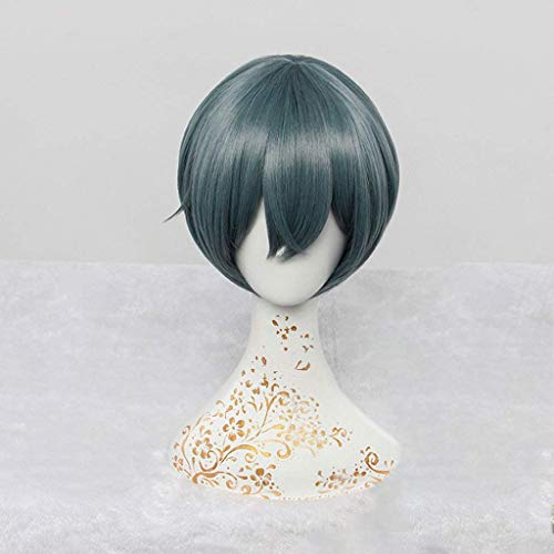 Kostüm Ciel Lady - Black Butler (Ciel Phantomhive) Anime Cosplay Rose Net Perücken mit Pony 100% hochtemperaturbeständige Faser Ombre Tinte-Blau Farbe Kurze glatte Haare 12 Zoll Polystyrol