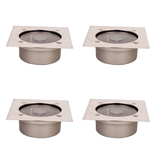 NOVESTE Solarleuchten LED Solar Bodenleuchte, IP65 Kaltweiß, Edelstahl + Hartglas + Kunststoff, für Auffahrt, Garten Terrasse (4x Eckig)