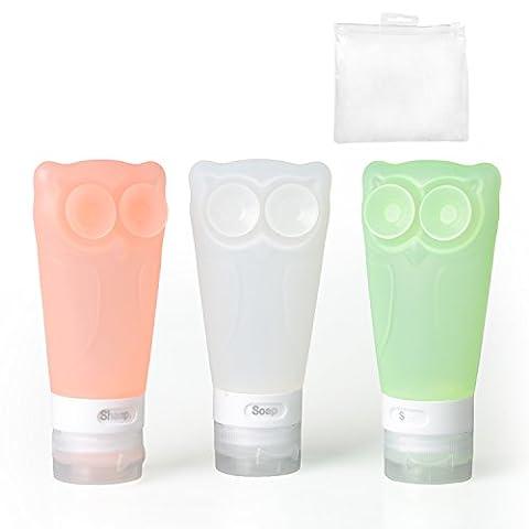 Silikon Reise Flaschen Set & Kulturbeutel Handgepäck Kosmetiktasche Reiseflaschen für Shampoo Creme Spülung Körperpflege Farbige Fläschchen, Spülung Körperpflege (3 Flaschen)