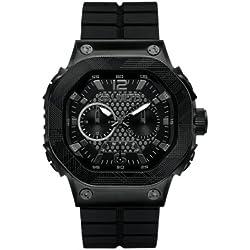 Marc Ecko E17503G1 - Reloj analógico de cuarzo para hombre con correa de silicona, color negro