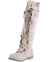 COOLCEPT Damen Flach Warm Synthetic Fell Lining Plateau Stiefel Reißverschluss (34 EU, Black)