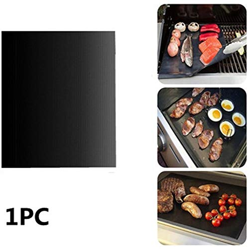 KANKOO Accessoires pour Barbecue 400 * 330 * 0,25 mm Tapis à Viande Noir Mat antiadhésif Facile à Nettoyer Réutilisable Gril Barbecue Multi-Usage Certifié FDA