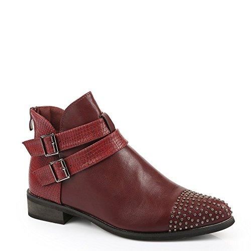 Ideal Shoes-Scarpette con parte, effetto rettile Dania e chiodi Rosso (rosso)