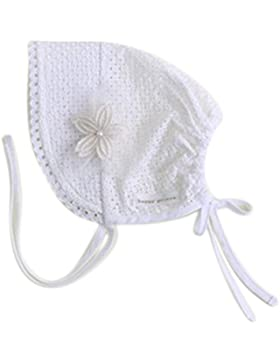 Kanggest Pequeñas Flores Princesa Cap Bebé Sombrero de Protección Solar de Algodón con Encaje para Niña (Blanco)
