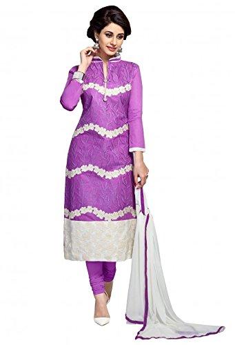 Sr Studio Women's Clothing Designer Party Wear Low Price Sale Offer Purple Color Lilan Cotton Free Size Unstitched Salwar Kameez Suit Dress Material Nazmin Dupatta