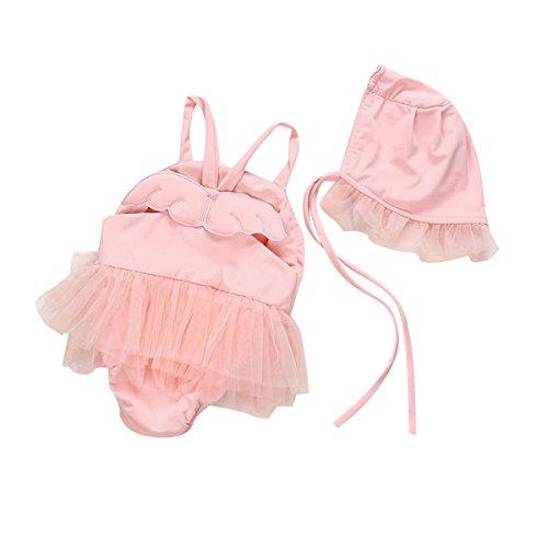 puseky Neugeborene Baby Mädchen Engel Flügel einteiligen Badeanzug Tutu Strampler Swimwear mit Hat Badeanzug rosa rose 0-3 (Badeanzug Baby 3 0 Mädchen)