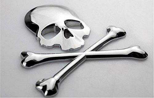 Logo 3D Silver New os du crâne os croisés Crâne os Métal emblème badge autocollant Decal