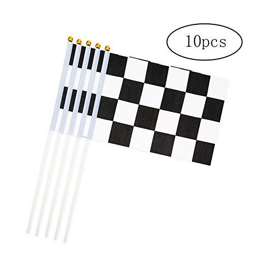 DierCosy Checkered Flag-Stock-10PCS / Satz Schwarz Weiß Endflaggen Hand Waving Mini Nationalflagge Hand 14 * 21cm Dekor für Büro-Schreibtisch-Garten-Rennwagen-Party Bar Festival Feste