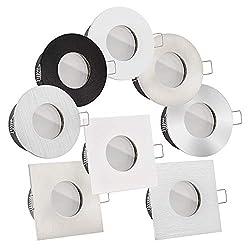 LED Bad-Einbauleuchten Lista Aqua Premium 230V   IP65 & flach 35mm   DIMMBAR   6W statt 70W   120° Milchglas   warmweiß 2700K   große Auswahl (Weiß eckig)