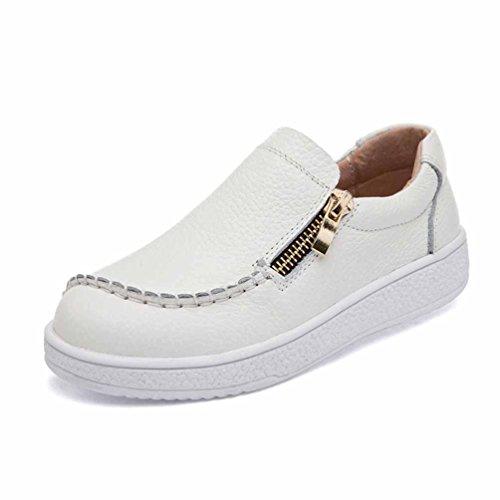 Qianliuk Kindermode Schuhe Echtes Leder Anti-Rutsch Wandern Casual Schuhe Weiß Schwarz Braun für Jungen Schulmädchen