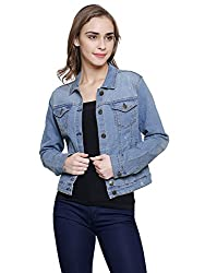MansiCollections Blue Embroidered Denim Jacket for Women