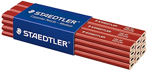 Staedtler - 12 lápices para carpinteros, color rojo