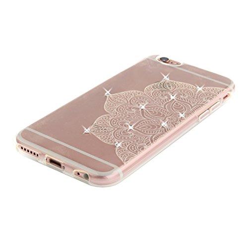 iPhone 6S Plus Schutzhülle, Rosa Schleife iPhone 6 Plus Crystal Case Handyhülle Ultra Dünn TPU Silikon Backcover Durchsichtig Gel Case Diamond Bling Schutzhülle klar für iPhone 6S Plus/6 Plus mit Mand a - Weiß Halbe Blume