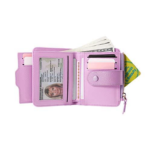 Damen Geldbörse, JOSEKO PU Leder Geldbeutel Brieftasche mit RFID Schutz Portmonee Portemonnaie Geldtasche mit Druckknopf und Reißverschluss für Frauen Lila -