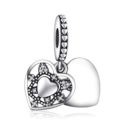 Argento sterling 925featherwish due cuori ciondolo charm con vetro di murano bianco e zirconi per braccialetti pandora