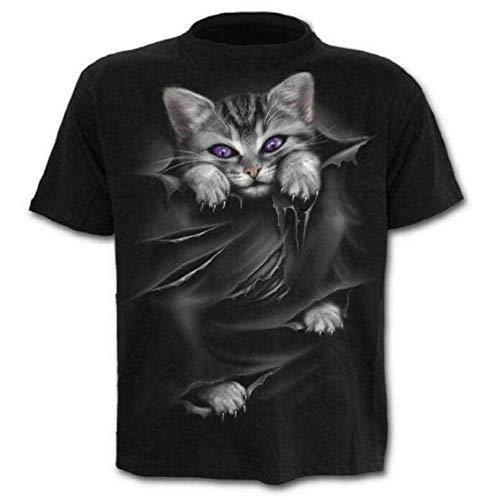 Camiseta - Camiseta - suéter Gato - Gatito - 3D - Manga Corta - Hombre - Mujer - Unisex - Divertido - Idea de Regalo - Cosplay - felino - Dulce - Kawaii - Talla XXL - c023