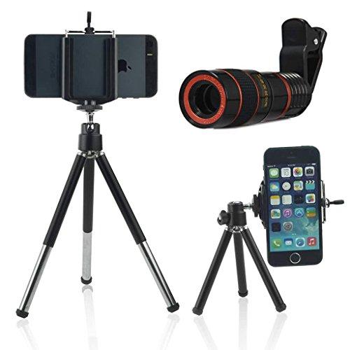 ONX3 (Black + Tripod Holder) Universal-Clip-on 8x Zoom-optisches Teleskop Manueller Fokus Telefon-Kamera-Objektiv mit Justierbarer 360 Drehbarer Ministativ-Standplatz for Huawei P10