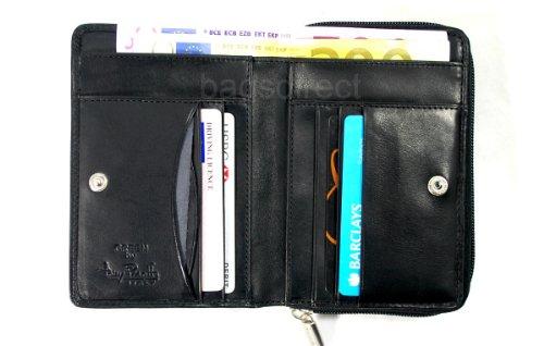 Tony Perotti TP0311 Geldbörse aus italienischem pflanzlichem Leder, Münzfach, Schwarz