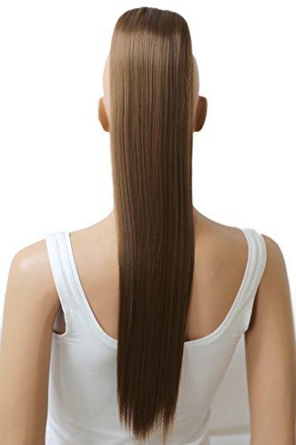 Pony-haar-zöpfe (PRETTYSHOP 60cm Haarteil Zopf Pferdeschwanz glatt Haarverlängerung hitzebeständig wie Echthaar hellbraun #12 H608)
