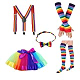 Amosfun Rainbow Layered Tutu Skirt Kit Colorful Bowknot Tie Long Guanti Stocking Bretelle Costumi per Adulti Principessa Festa di Compleanno Carnevale Costumi