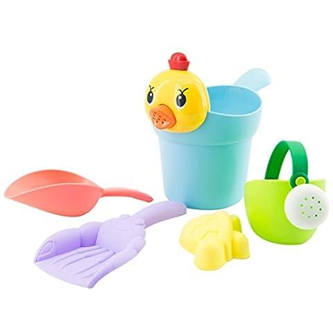 Beach Toys,Sansee 5PCS TPE Yellow Duck Beach Kids Beach Castle Bucket Spade Shovel Rake Water Tools