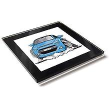 Koolart C4 - Posavasos de cristal con caja de regalo para Citroen C4 Picasso, azul