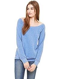Bella + Canvas Womens Sponge Fleece Wide Neck Sweatshirt (7501) BLUE TRIBLEND