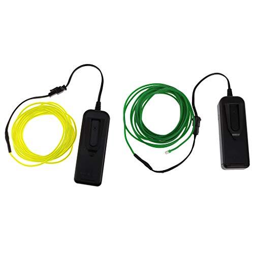 F Fityle 2 Pack 5M Flexible LED Neonlicht Glow EL Draht Licht Für Camp Decor Grün