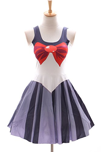 SK-07 Gr. S-M Sailor Moon Pluto grau Kleid dress Cosplay Manga Japan ()