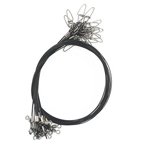 Lenza da pesca ad alta resistenza in resistente acciaio inox, con girelle e moschettoni, per 45 kg, 20pezzi, nero