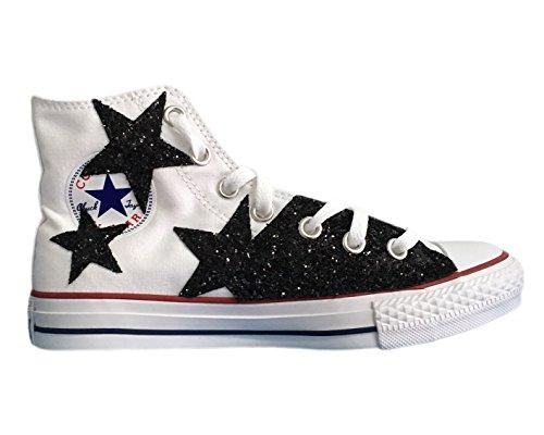 Converse All Star con applicazione stelle glitter nere Bianco