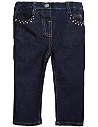 Mirtillo Baby Girls Blue Jeans with Applique-18 months