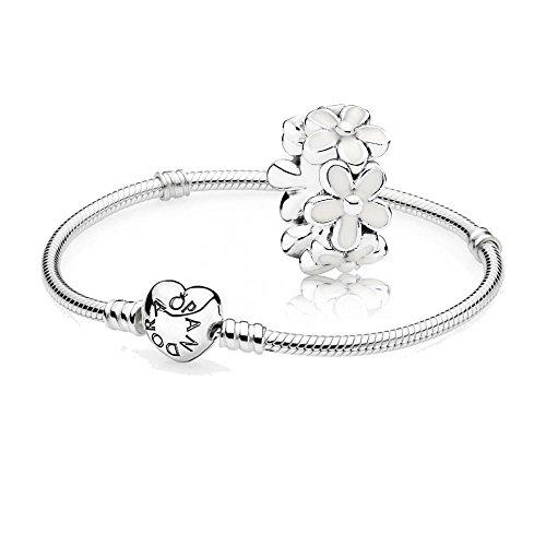 Original-Pandora-Geschenkset-1-Silber-Armband-mit-Herz-Schliee-590719-und-1-Silber-Zwischenelement-Liebliche-Gnseblmchen-791495EN12