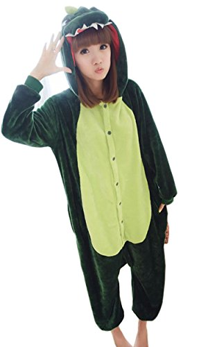 pyjama herren langarm flanell dinosaurier Schlafanzug-Einteiler Sleepsuit Pyjamas,L