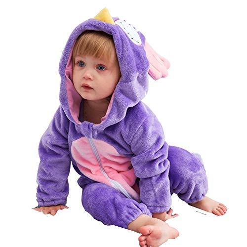 Neugeborene Baby Kapuzenpullover aus Fleece für Jungen und Mädchen Pyjama Kinder Kleinkinder Pyjas Flanell Jumpsuit Halloween Cosplay Kostüm, eule, 70 cm
